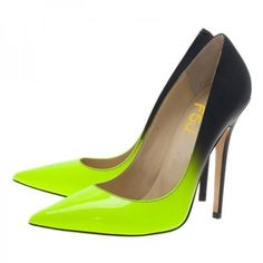 Lime and Black Stiletto Heels Dress Shoes Pointy Toe Elegant Pumps ($70)