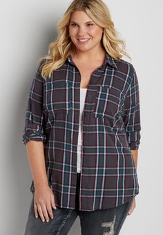plus size button down shirt in paradise teal plaid (original price, $39.00) available at #Maurices