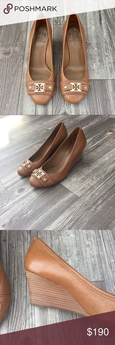 RARE Tory Burch Wedges RARE Tory Burch Wedge Tan Sandals. In the size 9M. Great condition bought in 2011. Leather upper and lining man made in Brazil! ✨HOST PICK 8/1/17✨ Tory Burch Shoes Wedges