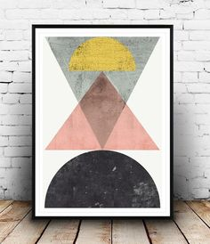 Geometrische drucken, abstrakte Kunst skandinavisches Design, Patel Farben, minimalistisches Design, moderne Kunst, Aquarell abstrakt, Kunst Dreiecke Kunst
