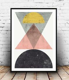 Geometric print Abstract art Scandinavian design by Wallzilla