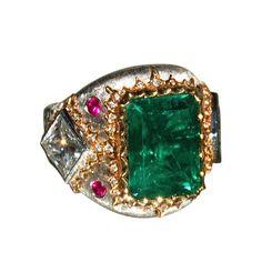 1stdibs.com   5.00 Carat Colombian Emerald Platinum & Gold Diamond Ring