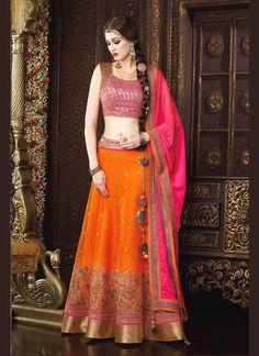 Royal Net Hot Pink and Orange A Line Lehenga Choli