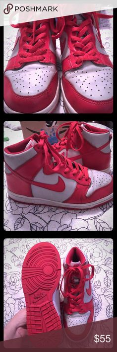 NIKE HIGH TOPS RED/WHITE VERY GOOD CONDITION NIKE HIGH TOPS RED/WHITE VERY GOOD CONDITION SIZE 5.5Y WORN BY AN ADULT SUPER NICE LIKE NEW! Nike Shoes Sneakers