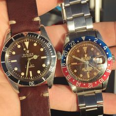 """""""A pair of no crown guard tropical sport watches from 1958 ☕️ #rolex #vintagerolex #tropicaldial #5508 #6542"""""""