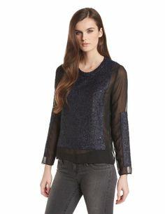 aryn K Women's Sheer Sequin Blouse, Mystic Blue Black, Medium aryn K,http://www.amazon.com/dp/B00EB8JBIY/ref=cm_sw_r_pi_dp_Z4rOsb15H8KGDQ61