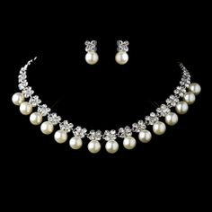 Pearl & Flower Rhinestone Necklace & Earrings. Kim's Bridal, Keywords:  #michiganeventrentals #michiganbridalshop #weddingrentals #weddingaccessories #kimsbridal Follow Us: http://www.kimsgiftbaskets.com/ ... https://www.facebook.com/KimsGifts