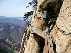 Mt. Hua Plank Road on n the near vertical cliffside!