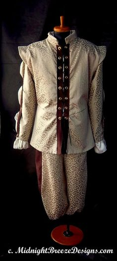 READY TO WEAR Mens Renaissance Costume Doublet and Breeches, Large, Fancy Fabrics. $195.00, via Etsy.