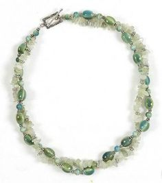 Two Strand Necklace Jade Chips and Green Raku Beads
