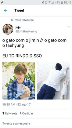 "Eu li ""O gato do Jimin"" Bts Memes, Funny Memes, Seokjin, Namjoon, Bts Love Yourself, Chanbaek, Vmin, Bts Bangtan Boy, Jung Hoseok"
