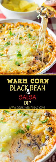 Warm Corn Black bean and Salsa Dip - Cooking Maniac warm-corn-and-black-bean-and-sala-dip-long-pin