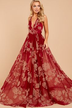 Gorgeous Gal Wine Red Maxi Dress