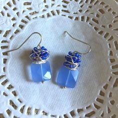 Wire Beaded Cluster Earrings  Blue by LaniMakana on Etsy