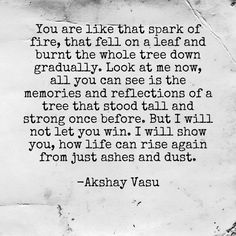 You are like that spark of fire, that fell on a leaf and burnt the whole tree down gradually. Look at me now, all you can see is the memories and reflections of a tree that stood tall and strong once before. But I will not let you win. I will show you, how life can rise again from just ashes and dust.  -Akshay Vasu