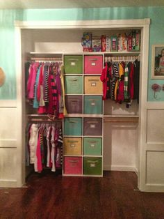 One Thrifty Chick: Quick Fix Closet Organization Two 6 cube organizers stacked o. - One Thrifty Chick: Quick Fix Closet Organization Two 6 cube organizers stacked on top of one anothe - Kid Closet, Closet Bedroom, Shared Closet, Closet Small, Bathroom Closet, Playroom Closet, Narrow Closet, Closet Redo, Double Closet