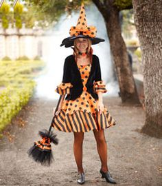 womens la-dee-dots witch costume - Only at Chasing Fireflies - No covens and cauldrons for your witch -- it's a stylish outfit and a night on the town! Your dress features an attached high collar, velvet bodice with big orange button, and flared satin skirt with polka dots and stripes.