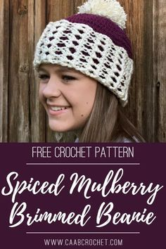 Spiced Mulberry Brimmed Beanie. The tulip stitch adds a feminine touch to this double brimmed beanie. Free crochet pattern from Cute As A Button Crochet & Craft. #caabcrochet #freecrochetpattern #brimmedbeanie Crochet Buttons, Crochet Baby Hats, Crochet Beanie, Free Crochet, Knitted Hats, Hat Patterns, Crochet Patterns, Crochet Winter, Ski Hats