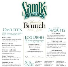 Brunch menu design Brunch Menu, Sunday Brunch, My Favorite Food, Favorite Recipes, Egg Dish, Ham And Cheese, Food Industry, Menu Design, Menu Restaurant