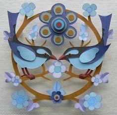 Bluebird Garland by Helen Musselwhite #bird #paper #art