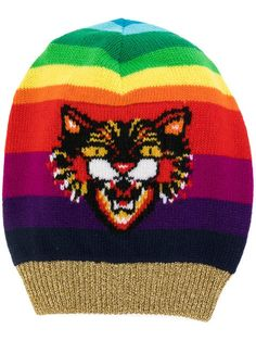 Shop Gucci Angry Cat motif beanie hat. Gucci Hat 241593892a43