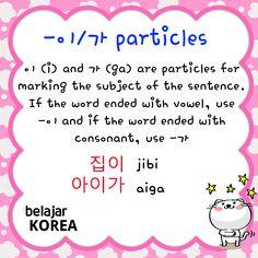 이/가 Lesson Notes : - English : http://saungkorea.com/partikel-subjek-dalam-bahasa-korea/ - Indonesian : http://en.saungkorea.com/subject-particle/