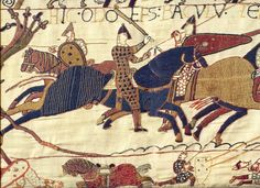1O66 -1082 TEXTIEL / Tapijt van Bayeux / Detail Afbeelding van Odo halfbroer van Willem de veroveraar en Bisschop van Bayeux terwijl hij zijn mannen opjaagd om zich in de strijd te begeven de slag van Hastings