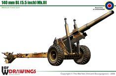 140mm BL (5.5 in) Mk.III Medium Field Gun Military Weapons, Military Art, Military History, Railway Gun, Engin, Ww2 Aircraft, Military Equipment, Armored Vehicles, War Machine