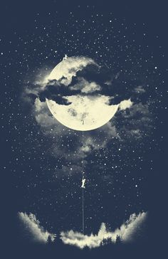 MOON CLIMBING Art Print by Los Tomatos | Society6