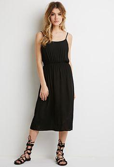 Shirred Gauze Midi Dress   Forever 21 - 2000076775