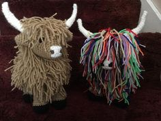 here is my finished crochet Highland cow ,done with double knit wool , and size hook and a size hook for nose and toy stuffing. he measures 9 inches from feet to top of head and 9 inches in length , the pattern is done in single crochet stitch Crochet Stitches Uk, Single Crochet Stitch, Crochet Patterns Amigurumi, Animal Knitting Patterns, Baby Sweater Knitting Pattern, Cow Craft, Cow Pattern, Crochet Cross, Double Knitting