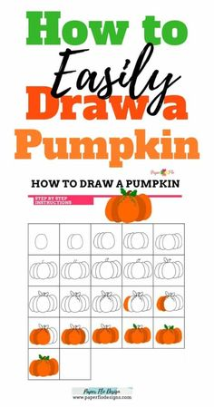 Pumpkins remind me of fall weather, cozy sweaters and holidays. They are fun to draw and can be done in just a few steps. I'll show you my method for how to draw a pumpkin. Drawing For Beginners, Drawing For Kids, Drawing Ideas, Diy Craft Projects, Craft Tutorials, Project Ideas, Diy Crafts, Pumpkin Drawing, Creative Homemade Gifts