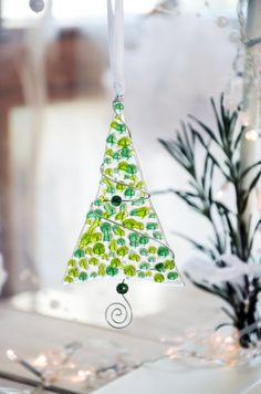 Fused glass Christmas ornament - Christmas tree - Glass trees - Green Christmas ornaments