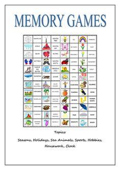 Memory Games Booklet, esl, games, memory, concentration, seasons, holidays, clock, sports