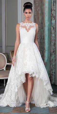 Top 15 High Low Wedding Dresses ❤️ High Low wedding dresses are unconventional, but they are as elegant and chic as the classic wedding dresses. See more: http://www.weddingforward.com/high-low-wedding-dresses/ #wedding #dresses #highlow