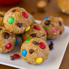 Monster Cookie Dough Energy Bites //These monster cookie dough energy bites are egg-free and packed full of protein! Great little post workout treats without all of the sugar. *You could easily use other types nuts  nut butters to fit with your taste.