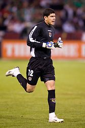 February 24, 2010; San Francisco, CA, USA;  Bolivia goalkeeper Carlos Lampe (12) enters the game during the second half against Mexico at Candlestick Park. Mexico defeated Bolivia 5-0.