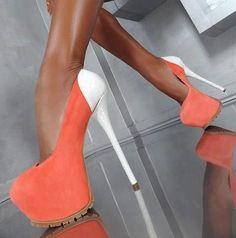 Giuseppe Zanotti orange pumps w white heel Cool Shoes white heels |2013 Fashion High Heels|