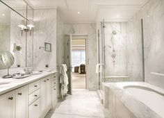 Interesting Luxury Master Bathroom Remodeling Ideas White Marble