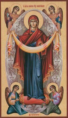 The Holy Protection of the Theotokos Byzantine Icons, Byzantine Art, Religious Icons, Religious Art, Christian Artwork, Religion Catolica, Blessed Mother Mary, Catholic Art, Art Icon