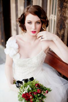 beautiful hair color/style & red lips #megswedding
