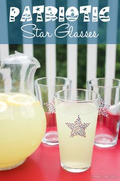 4th of July Star Glasses. Cute idea, can do this for different holidays just change the shape/pattern.