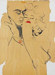 Joe Eula  Olivier and Marilyn Monroe The Prince and the Showgirl   Signed Eula  Brush and black ink on torn brown paper with red highlights  32 x 24 inches