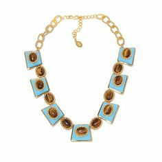 """Shop Hutton Wilkinson Statement Jewelry Simulated Turquoise and Simulated Tiger's Eye Goldtone 19"""" Station Necklace at HSN mobile"""