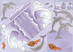 1 stand up 3D decoupage dolphin sheet Ideal for card making scrapbooking and all paper craft This sheet makes one card which stands up The waves