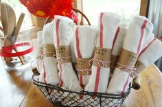 """""""stock the kitchen"""" shower  use classic dish towels to give away as a favor"""
