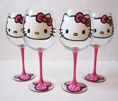 set of 4 - Hello Kitty Wine Glasses - Hand painted - pink stem 20 oz jdboutique