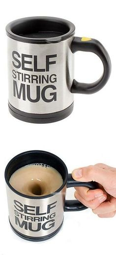 Stainless Steel Self Stirring Mug - Morning schedules can be hectic, that's why the self stirring coffee mug is here to make your days run a little smoother. This unique mug includes a push button to automatically mix the contents of your mug – perfect for lazy tea and coffee drinkers everywhere.