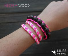 """Lines Across"": Neon and Wood Floating Bead Bracelet"