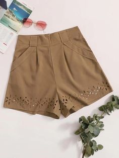 ((Affiliate Link)) Description Style:	Casual Color:	Mocha Brown Pattern Type:	Plain Details:	Cut Out, Pocket, Zipper Type:	Wide Leg Season:	Summer Composition:	95% Polyester, 5% Spandex Material:	Polyester Fabric:	Non-stretch Sheer:	No Fit Type:	Loose Waist Type:	High Waist Closure Type:	Zipper Fly